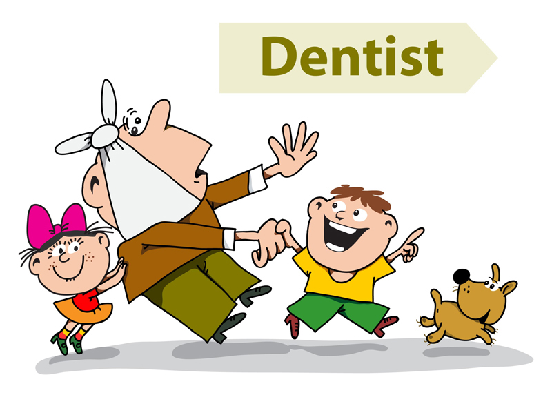 Illustration of a Family Standing Next to a Dentist Sign